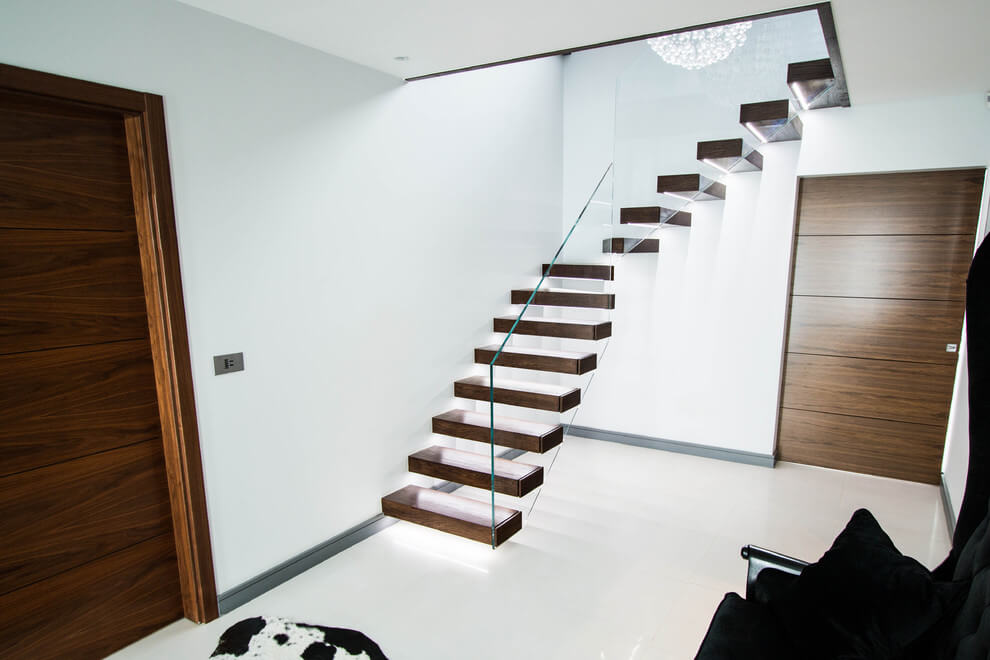 Lighting Basement Washroom Stairs: The Walnut Treads Floating Stairs With LED Lights